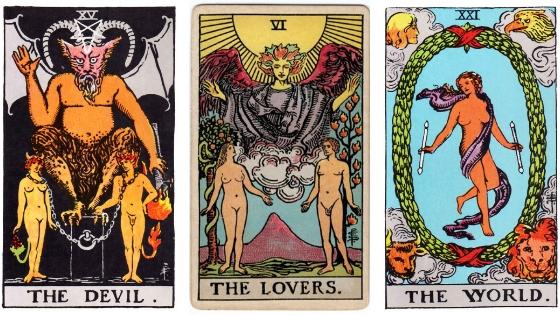 Tarot Spread, Devil, Lovers, World