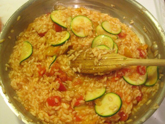 vegan risotto, zucchini tomato risotto